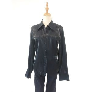 Express Metallic Black Button Front Blouse Medium